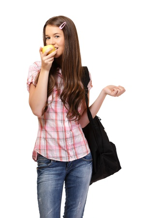 nice young woman bite an apple, isolated on white photo
