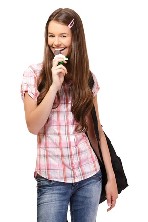 happy young woman with chocolate photo