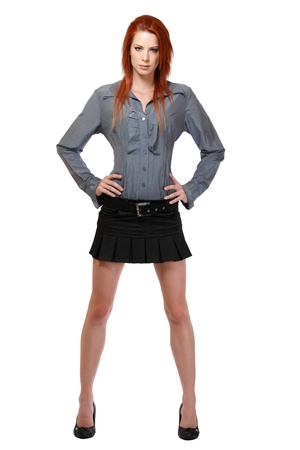 nice woman with red hair posing in studio photo
