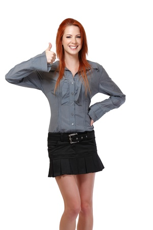 redhead woman posing on white background photo