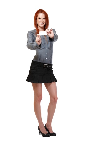 nice woman with red hair posing in studio Stock Photo - 14570453