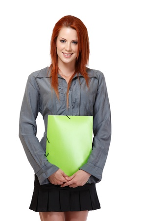 nice woman with red hair portrait Stock Photo - 14570482