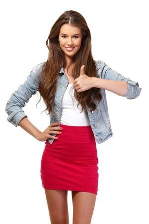 schöne junge Frau lächelnd in Studio Standard-Bild