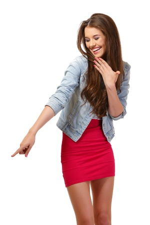 nice young woman derides something at copyspace Stock Photo - 14724239