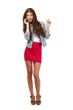 young woman speaking on telephone Stock Photo