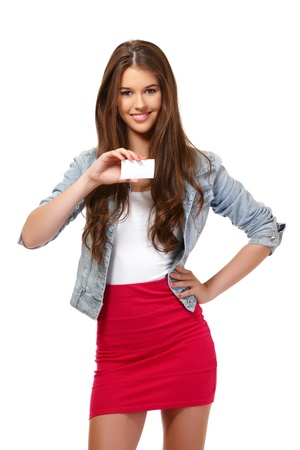 nice girl: nice girl holding a blank businesscard