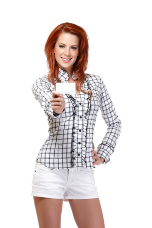 happy woman with red hair isolated on white photo