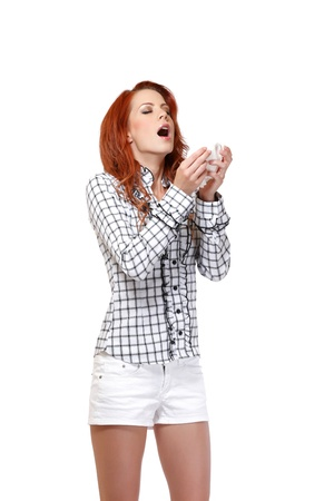 red head woman has allergy photo