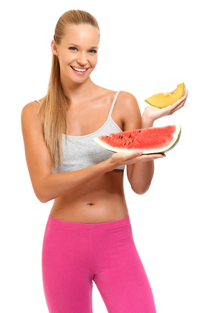 happy woman posing with fruits photo