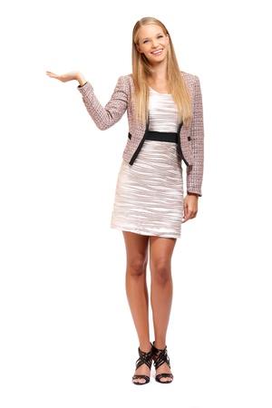 belles jambes: belle jeune femme blonde posant en studio Banque d'images