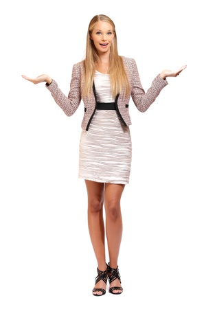employe: young blonde business woman with palms isolated on white Stock Photo