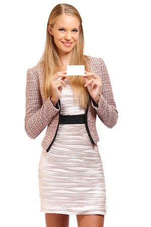 nice blonde business woman with business card, isolated on white photo