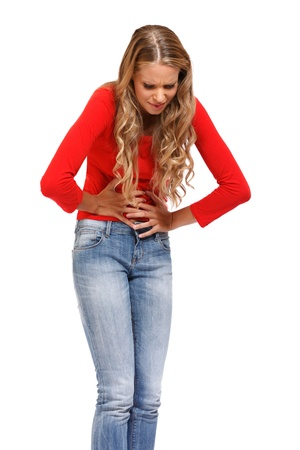 young blond woman has period isolated on white Stock Photo