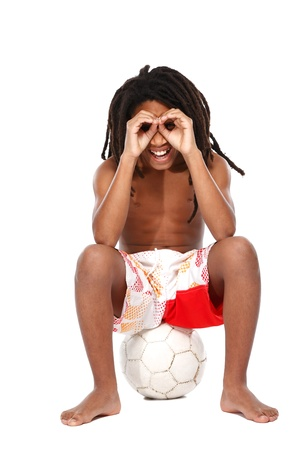 rasta boy making fun isolated on white Stock Photo - 16640240
