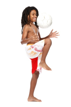 happy teenager with ball on white background photo