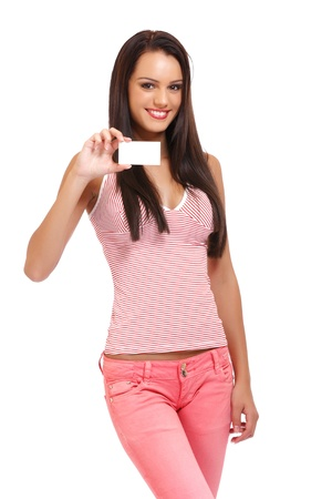 nice young lady holding a blank businesscard on white background Stock Photo - 16660594