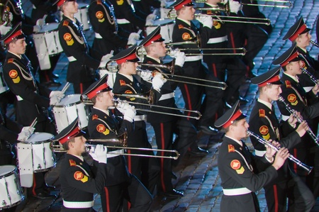 spassky: Russia, Moscow, Red Square, September 4, 2010., mezhdunrodny military music festival Spassky Tower Orchestra of the Moscow military-musical school