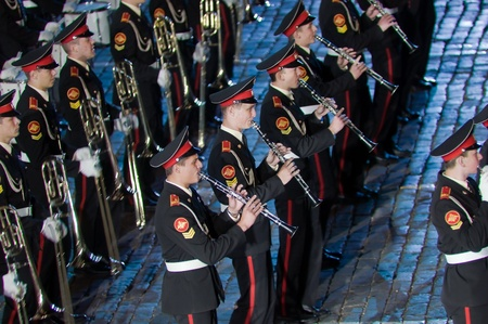 Russia, Moscow, Red Square, September 4, 2010., mezhdunrodny military music festival Spassky Tower Orchestra of the Moscow military-musical school Stock Photo - 9205229