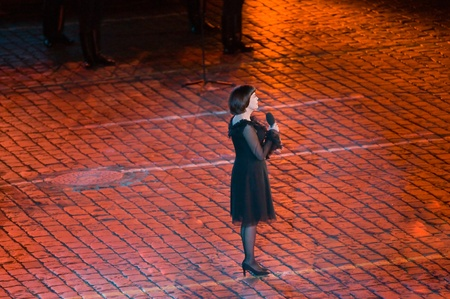 spassky: Russia, Moscow, Red Square, September 4, 2010., mezhdunrodny military music festival Spassky Tower Mireille Mathieu