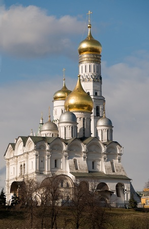 View of the Cathedral of St. Michael the Archangel (Cathedral of the Archangel) and Ivan the Great Bell in the Kremlin