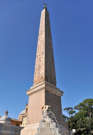 Obelisk in Piazza del Popolo. Rome Italy.  Stock Photo