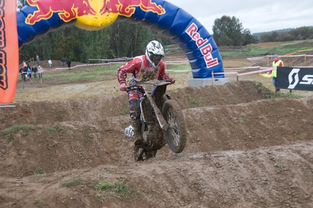 MOSCOW-SEPTEMBER 10: Ivanyutin Alexander in the Stage III Cup XSR-MOTO.RU Cross Country in Moscow, Sheremetyevo, route