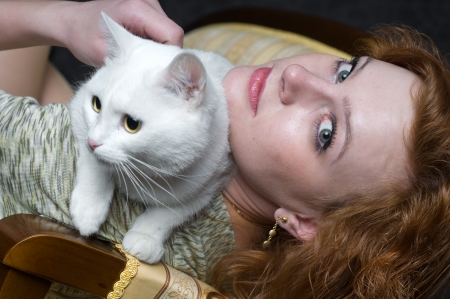 emphatic: Girl and cat Stock Photo