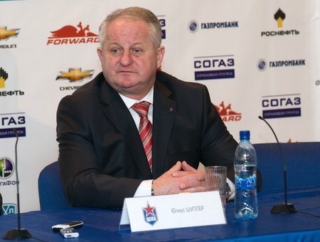 MOSCOW - JANUARY 31: Head Coach of CSKA (Moscow, Russia) Julius Shupler for postgame press conference on Hockey match CSKA - Spartak on January 31, 2012 in Moscow, Russia