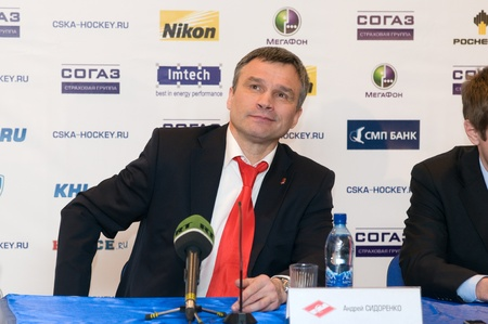 spartak: MOSCOW - JANUARY 31: Head Coach Spartak (Moscow, Russia), Andrey Sidorenko for post-match press conference Hockey match CSKA - Spartak on January 31, 2012 in Moscow, Russia Editorial