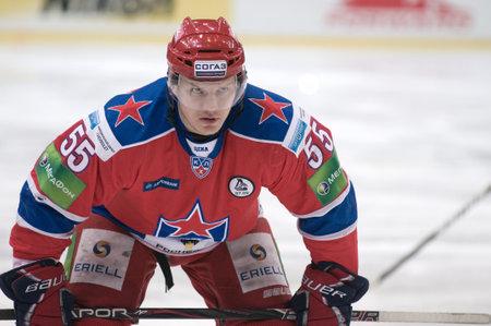 MOSCOW - JANUARY 31: Forward Hockey Club CSKA (Moscow, Russia) Alexey Badyukov at Hockey match CSKA - Spartak on January 31, 2012 in Moscow, Russia