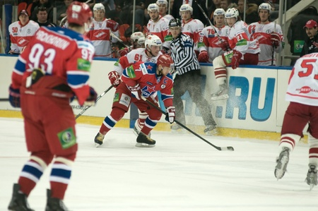 MOSCOW - JANUARY 31 : Hockey match Spartak-CSKA in sports palace CSKA on January 31, 2012 in Moscow, Russia
