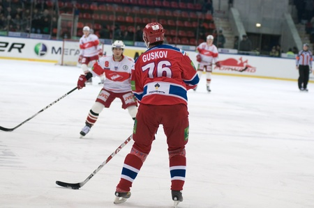 MOSCOW - JANUARY 31 : Hockey match Spartak-CSKA in sports palace CSKA on January 31, 2012 in Moscow, Russia Stock Photo - 12147566