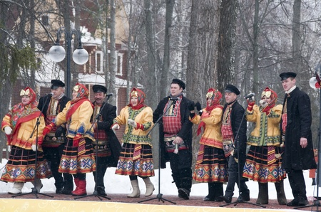 MOSCOW - FEBRUARY 25  Russian ensemble concert  Russian Song  for the Celebration of Shrovetide, a traditional Russian holiday  pancake week, maslenitsa  on Feb  25, 2012 in Moscow, Russia   Stock Photo - 12790406