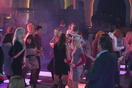 MOSCOW - NOVEMBER 10  Unidentified young people dancing to the Party «FLIRT PARTY RADIO 7