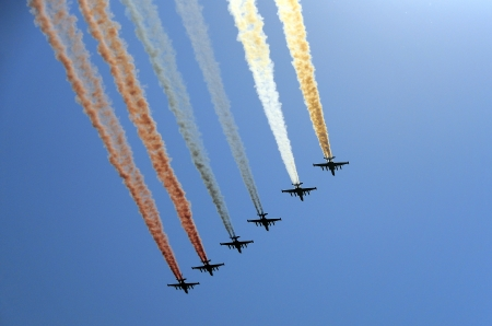 Fighters, flying Su-25 at The Victory Day military parade