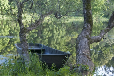 skiff: Old boat on the river