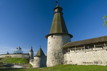 Slim tower of the Pskov Kremlin Stock Photo