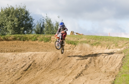 motorsprot: MOSCOW-SEPTEMBER 8: Zhmylev Dmitry (command Gallaks DOSAAF Mytishchi) in the Stage III Cup XSR-MOTO.RU Cross Country in Moscow, Sheremetyevo, motostadion