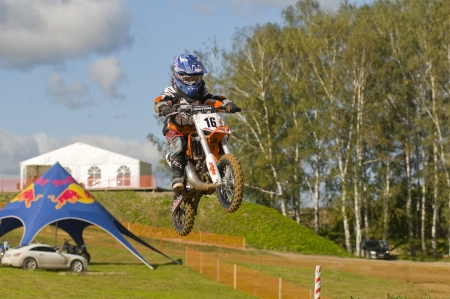 motorsprot: MOSCOW-SEPTEMBER 8: Sukhotin Seraphim (Vidnoe) in the Stage III Cup XSR-MOTO.RU Cross Country in Moscow, Sheremetyevo, motostadion