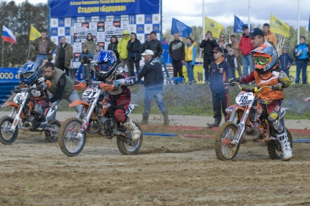 MOSCOW-SEPTEMBER 8: Young athletes will start in the Stage III Cup XSR-MOTO.RU Cross Country in Moscow, Sheremetyevo, motostadion