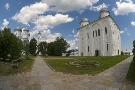 monasticism: Yuriev Monastery  St  George s Cathedral  Veliky Novgorod Stock Photo