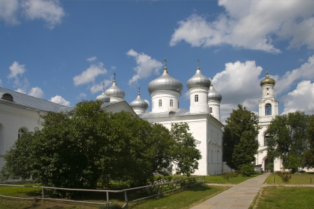 The Saviour Cathedral Yuriev Monastery  Veliky Novgorod Stock Photo