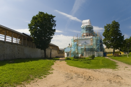 Izborsk fortress. St. Nicholas Cathedral in repair photo
