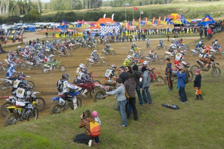 daredevil: RUSSIA, MOSCOW-SEPTEMBER 8: Start of the race Stage III Cup XSR-MOTO.RU Cross Country in Moscow, Sheremetyevo, route Burtseva; on September 8, 2012