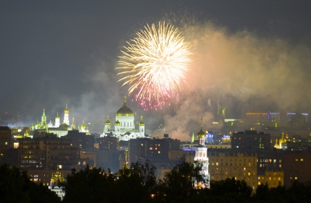 Fireworks in Moscow at the Cathedral of Christ the Savior Stock Photo