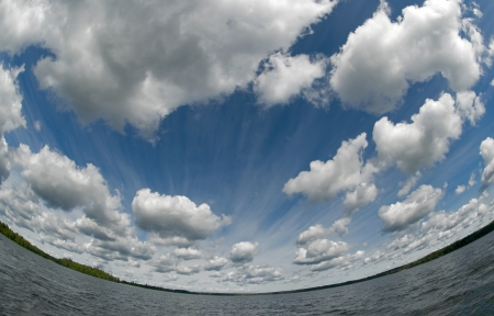 The sky over Lake Valdai  Stock Photo