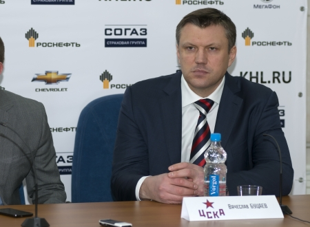 The head coach of CSKA hockey club Vyacheslav Butsaev the post-match press conference