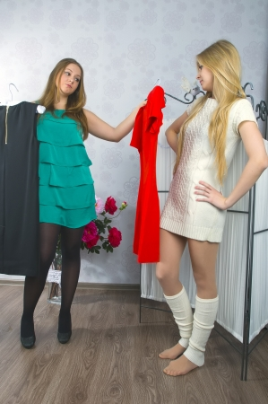 Girls share dress Stock Photo - 18472082