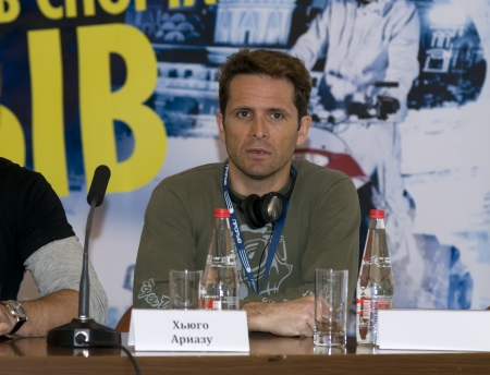 hugo: Hugo Ariazu at a press conference on the festival of extreme sports Proryv