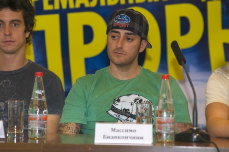 massimo: Massimo Bianconcini at a press conference on the festival of extreme sports Proryv Editorial